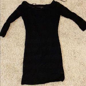 Lace detailed black mini dress